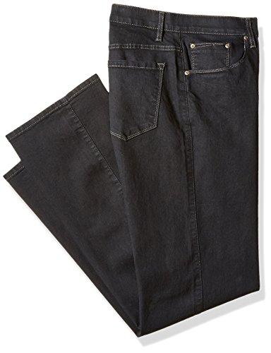 - Savane Men's Big and Tall Flat Front Active Flex Stretch Denim, Black Rinse, 54W x 30L