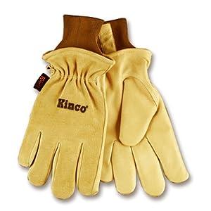 KINCO 94HK-M Men's Lined Grain Suede Pigskin Gloves, Heat Keep Lining, Medium, Golden