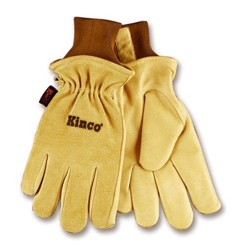 KINCO 94HK-M Mens Lined Grain Suede Pigskin Gloves, Heat Keep Lining, Medium, Golden