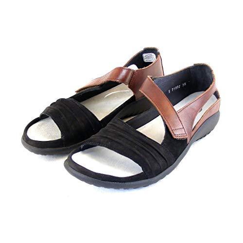 NAOT Footwear Women's Papaki Sandal Black Velvet Nubuck/Cinnamon Lthr 7 M US