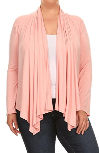2LUV Plus Women's Long Sleeve Relaxed Fit Open Front Cardigan Draped Neck (Peaches Cardigan Style Jacket)