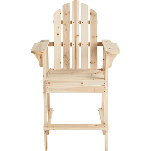 PierSurplus Balcony Tall/Counter High Adirondack Chair with Footrest - Natural Wood Product SKU: PF09104