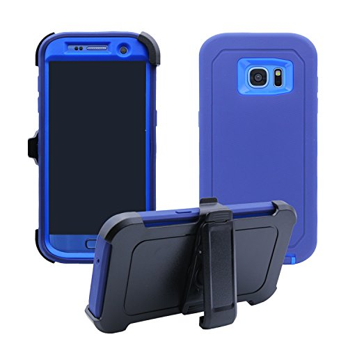 Samsung Galaxy S7 Edge Cover | 2-in-1 Kickstand & Holster Case | Full Body Military Grade Edge-to-Edge Protection with carrying belt clip | Drop Proof Shockproof Dustproof | Navy Blue/Blue