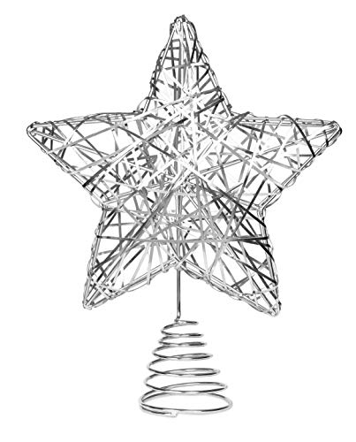 BIRDROCK HOME Decorative Star Christmas Tree Topper | Silver Stainless-Steel | Heavy and Durable | Metal Spiral | Treetop Christmas Decoration | Hallow Middle