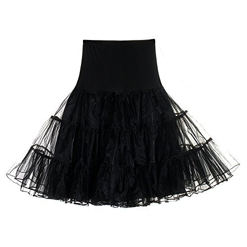 Retro 80's Costumes For Women (CINDY LOVER Women's Retro Jupon Petticoat Tutu Années Casual Style Autumn Tulle Skirts Black Small)
