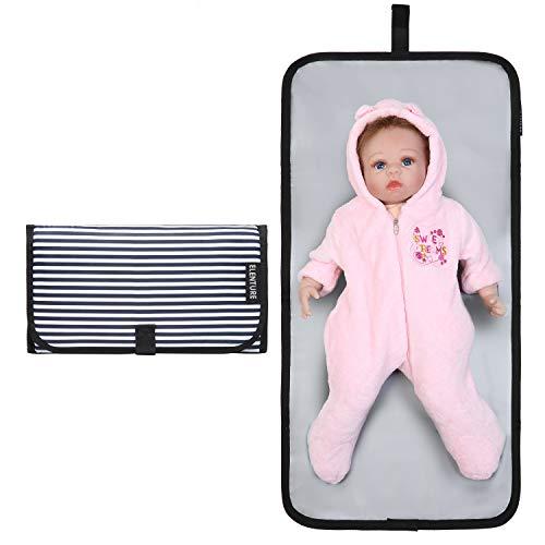 - ELENTURE Diaper Changing Pad, Baby Infant Portable Travel Changing Station Mat Bag (Stripe(mat))