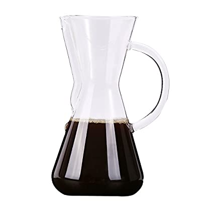 Senhs Pour Over Coffee Maker 600ml 20oz & Dripper 2 in 1 Thickened Heat Resist Glass Hand Drip Coffee Tea Server with Handle