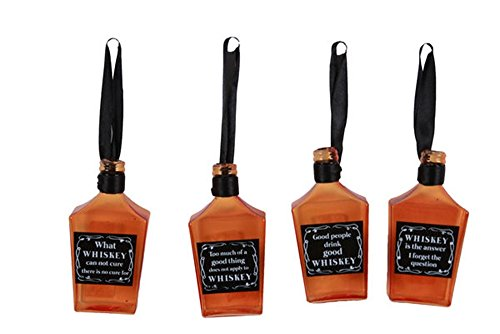 Set of 4 Assorted Glass WHISKEY Bottle Ornaments with for sale  Delivered anywhere in USA