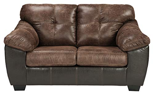 Ashley Furniture Signature Design - Gregale Contemporary Upholstered Loveseat - Coffee Brown