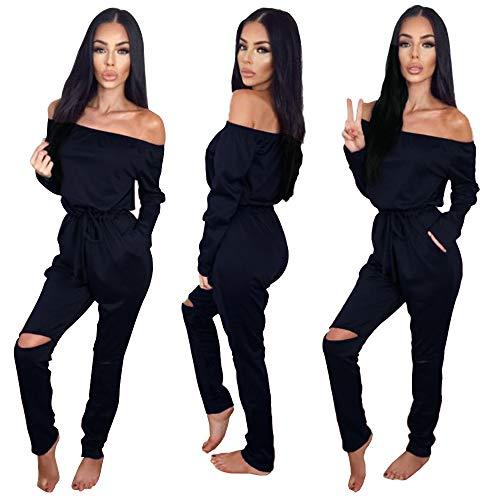 Longwu Women's Fashion Off-Shoulder Drawstring Jumpsuits Rompers Knee Hole Pants Dark Blue-XL ()