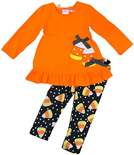 Little Girls Halloween Candy Corn Ruffles Pant Set