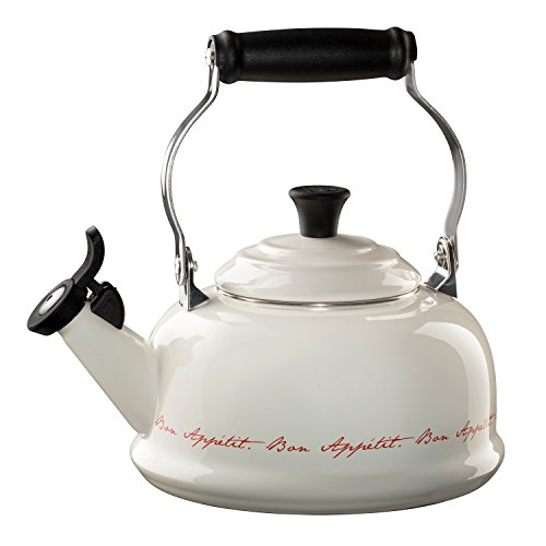 Le Creuset  Enamel On Steel 1.8qt Whistling Kettle, White with Red Script lettering by Le Creuset