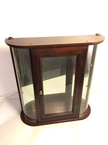 Curved Glass Curio Vintage Knick Knack Shelf Display Mirror CaseWall Mountable