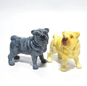 Shar Pei Dog Ceramic Figurine Salt Pepper Shaker 00005 Ceramic Handmade Dog Lover Gift Collectible Home Decor Art and Crafts