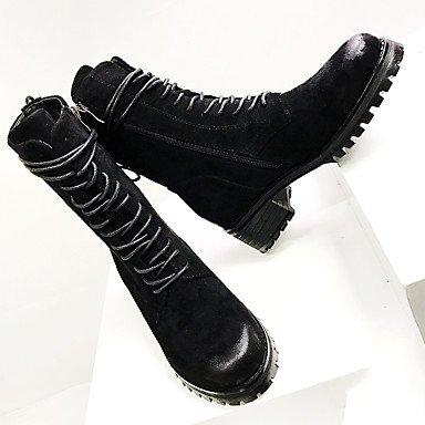 pwne La Mujer Confort Botas De Cuero Otoño Invierno Casual Chunky Talón Negro 1A-1 3/4In Negro Us8.5 / Ue39 / Uk6.5 / Cn40 US4-4.5 / EU34 / UK2-2.5 / CN33