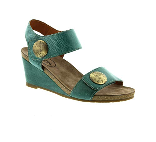 Taos Footwear Women's Carousel 2 Teal Leather Sandal 11-11.5 M US ()