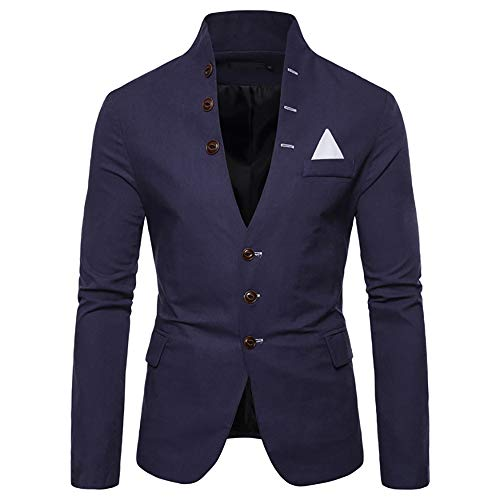 (WEEN CHARM Mens Casual Slim Fit Standing Collar Blazer 3 Button Suit Sport Jackets Navy Blue)