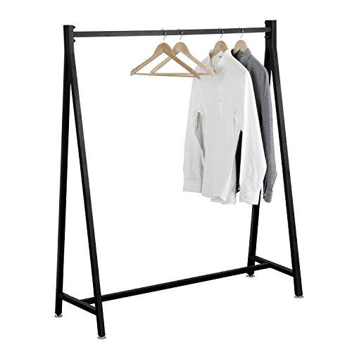 (55-Inch Modern Black Heavy Duty Metal Commercial Garment Rack, Retail Clothing Display)