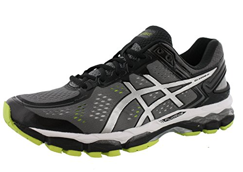 ASICS Men's Gel Kayano 22 Running Shoe, Charcoal/Silver/Lime, 9 M US -
