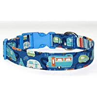 RV Camping Dog Collar - Blue With Campers and Travel Trailers - 100% Cotton - Size Large Adjusts 14 to 21 Inches - 1 Inch Wide