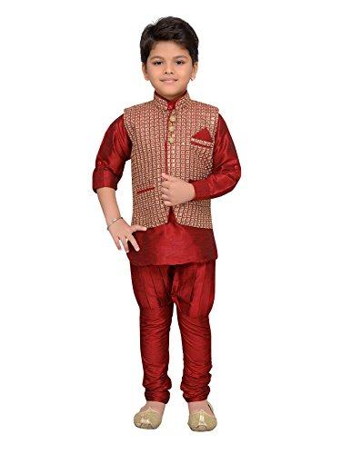 AJ Dezines Kids Indian Wear Bollywood Style Kurta Pyjama Waistcoat for Boys (617-MAROON-7) by AJ Dezines (Image #7)