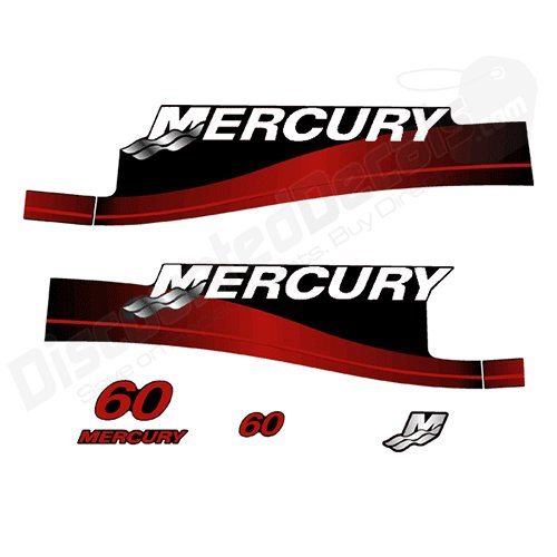 Mercury Outboard 60P Decal Kit Electric Stickers 2 Stroke 60 HP Red 1999-2006 (Outboard Motor Decals)