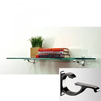 Amazon.com: Floating Glass Shelf 12 Inch Deep 12 x 36 Black: Home ...