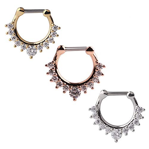 Ruifan 16G Nose Ear Daith Septum Clicker Ring with Clear CZ Gems 316L Surgical Steel 3PCS - Assorted Color 2#