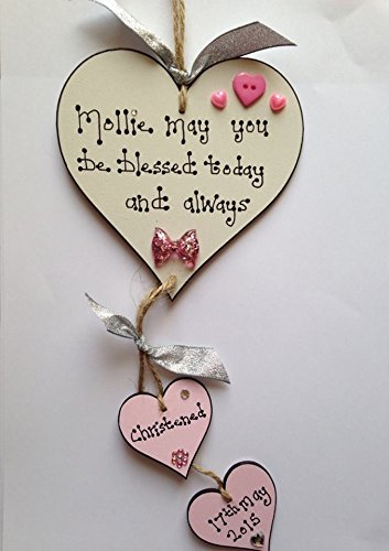 Baby girl wooden heart christening plaque gift personalised handmade baby girl wooden heart christening plaque gift personalised handmade sign baby boy negle Images