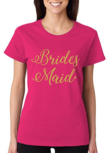 (SpiritForged Apparel Bridesmaid Gold Glitter Women's T-Shirt, Pink Large)