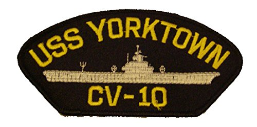USS YORKTOWN CV-10 with SHIP PATCH - Yellow and Silver on Black Background - Veteran Owned Business