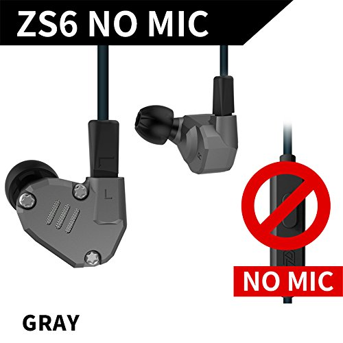 KZ Headset Yinyoo KZ ZS6 In Ear Earphones Comfortable Stereo Ear Earbuds High Resolution Heave Bass Monitors for Musician Music Lovers (Gray no microphone)