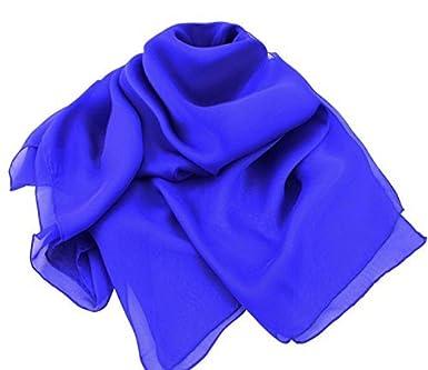Uni Bleu Cobalt Oblongue Pure Écharpe Soie Mousseline  Amazon.fr ... 67df065d968