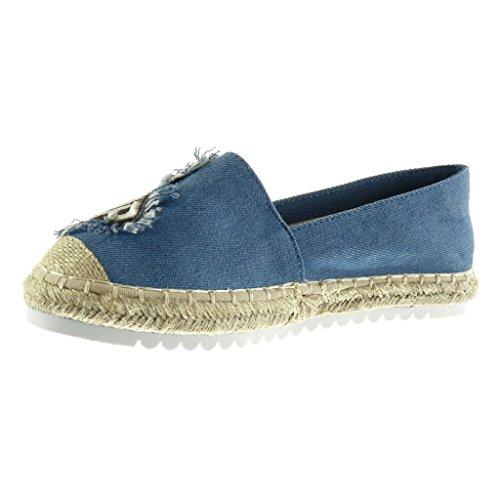 Corda Tacco Mocassini 5 Scarpe Fantasia On Tacco Angkorly Ricamo Sneaker Espadrillas 2 Piatto Suola cm Moda Blu di Donna Slip T7d16x