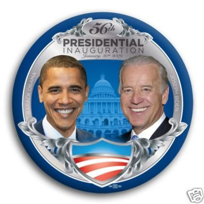 "BUY 1 GET ONE ""FREE"" OFFICIAL 56 INAGURATION DAY JAN 20, 2009 Obama and Biden Silver Inauguration Photo Button - 3"""