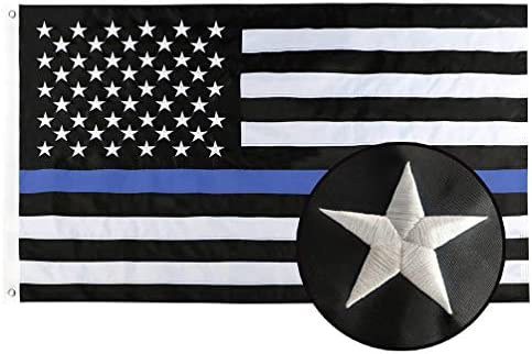 Duduta Embroidered Stars Thin Blue Line Flag 3x5 Foot, Sewn Stripes 210D Nylon, American Police Flag Honoring Law Enforcement Officers Flag with Brass Grommets