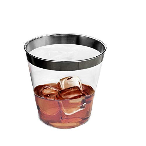 The Best Brands 100 Bulk Value Set 9 oz Clear, Plastic Elegant Black Rimmed Disposable Cups Heavy Duty, Fancy Reusable Tumblers Weddings, Anniversary Party, Receptions, Holiday Occasions (Black)