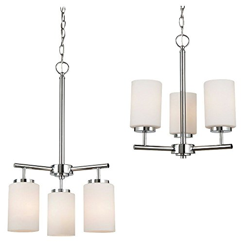 160-05 Oslo Three-Light Chandelier with Cased Opal Etched Glass Shades, Chrome Finish (Oslo Chandelier 5 Light)
