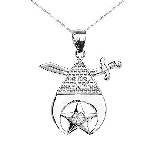 Collier Femme Pendentif 14 Ct Or Blanc Shriners Franc Maçon Maçonnique Diamant (Livré avec une 45cm Chaîne)