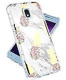 Galaxy J7 2018 Case,Galaxy J7 Refine,Galaxy J7 V 2nd Gen,J7 Star,J7 Aero,J7 Top Case for Girls Women,lovemecase Marble Design Clear Bumper TPU Soft Case Rubber Silicone Skin Cover(Gold Pineapple)
