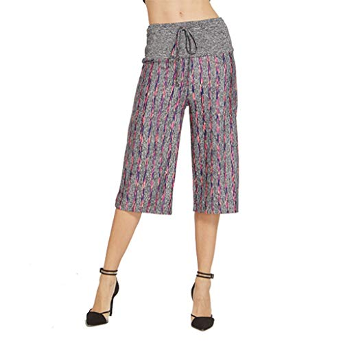 Drawstring Trousers,ONLY TOP Big Women Casual Elastic Waist Stripe Pants Baggy Wide Leg Sports Yoga Capris Purple