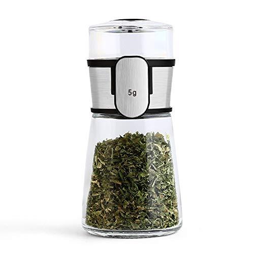 YZH LLC Seasoning Bottle/Kitchen Control Bottle Glass Seasoning Box Stainless Steel Seasoning Box Metering Salt Pot Convenient and Practical/Black