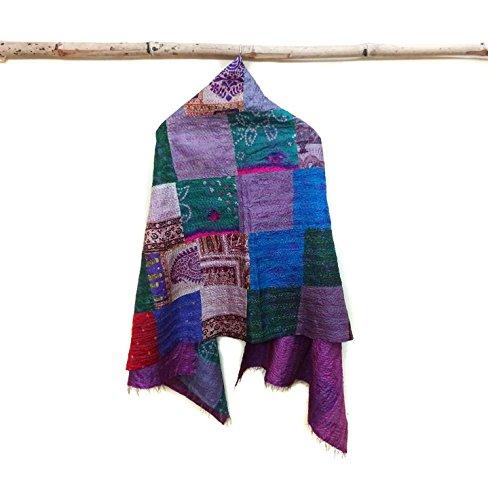 Silk Kantha Scarf Neck Wrap Stole Dupatta Stitched veil Scarf patchwork Boho