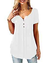 Women's Shirts Casual Blouse Short Sleeve Ruffle Button...