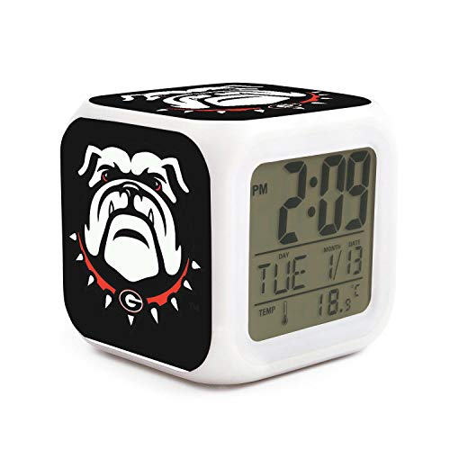 HIYITUTA Georgia Bulldogs Logo LED Display Alarm Clocks Mini Seven Color Lights Kids Sleep Trainer Classic Alarm Clock Snooze Function Well Functional Large