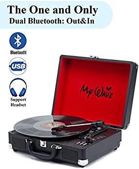 MyWave Portable Bluetooth Wireless Turntable with Built-in Stereo Speakers