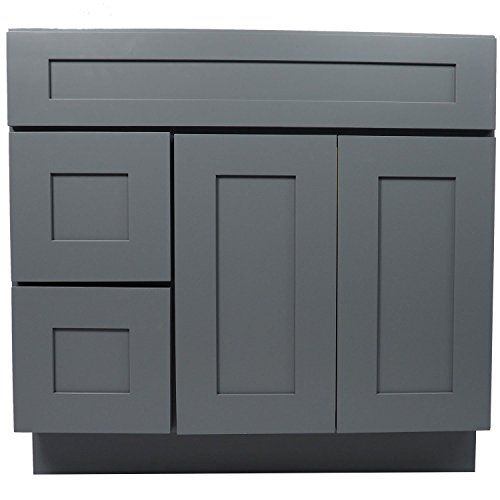 Everyday Cabinets 36-inch Shaker Grey Single Sink Bathroom Vanity Cabinet (Doors (Vanity Doors)