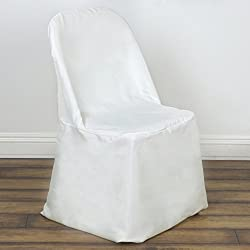 BalsaCircle 100 pcs Ivory Polyester Folding Flat Chair Covers Slipcovers for Wedding Party Reception Decorations