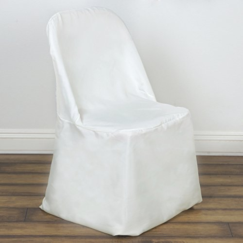 Banquet Chair Covers Wholesale (BalsaCircle 10 pcs Ivory Polyester Folding Flat Chair Covers Slipcovers for Wedding Party Reception Decorations)