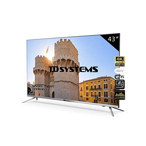 🥇 Televisores Smart TV 43 Pulgadas 4K / Android 9.0 / Hbbtv / 1300 PCI Hz/ 3X HDMI/ 2X USB/UHD HDR10/ DVB-T2/C/S2/ Televisiones Led TD Systems K43DLJ10US